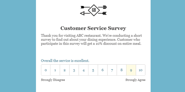 Survey form example using Enginemailer