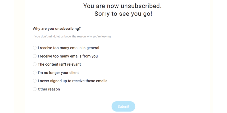 Unsubscribe button questionaires