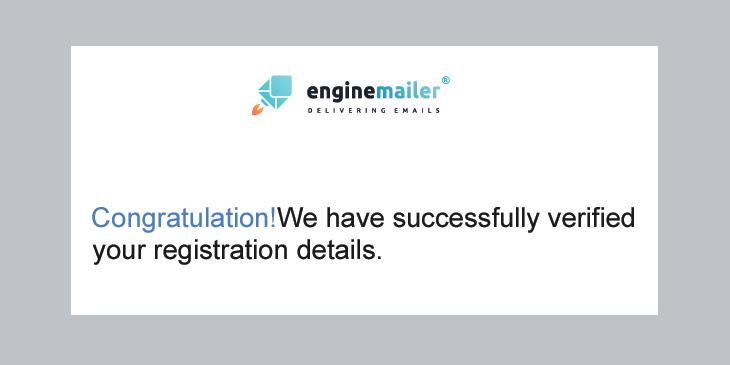 Enginemailer verification email example