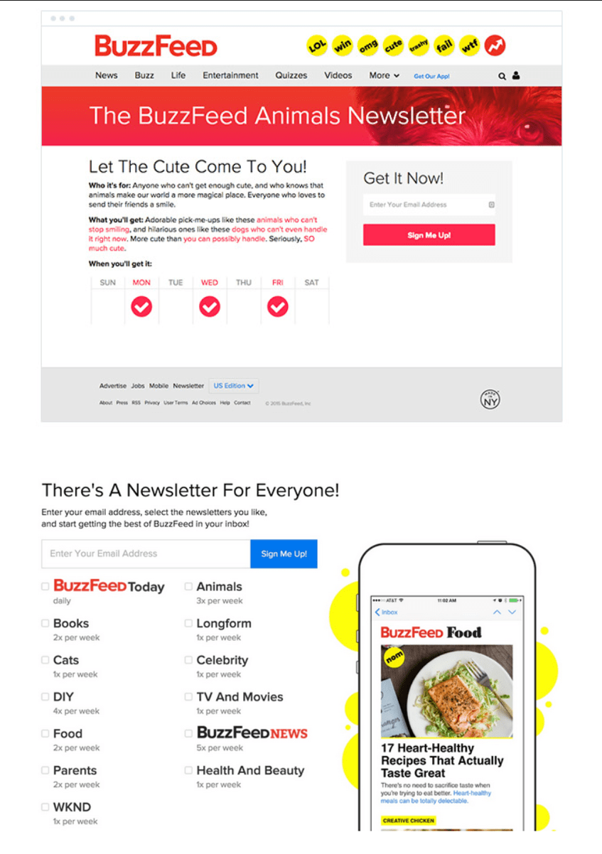 BuzzFeed's email marketing campaign is centered around list segmentation