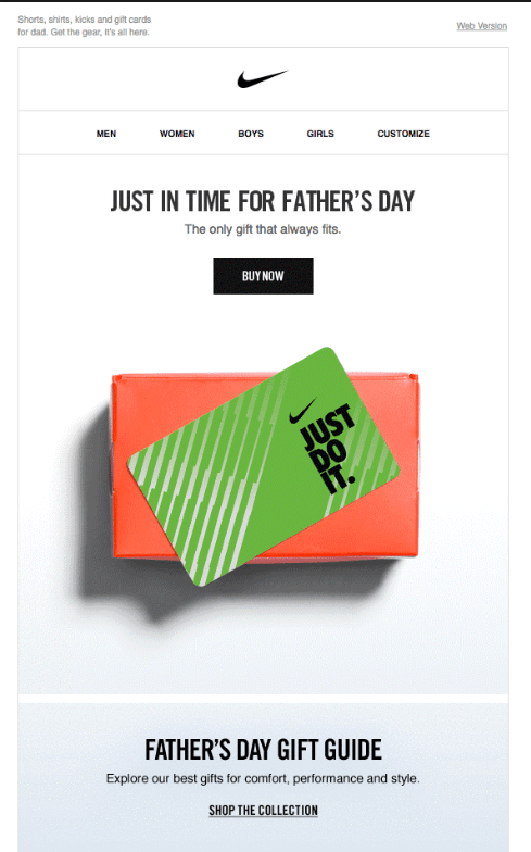 Nike Father's Day email campaign