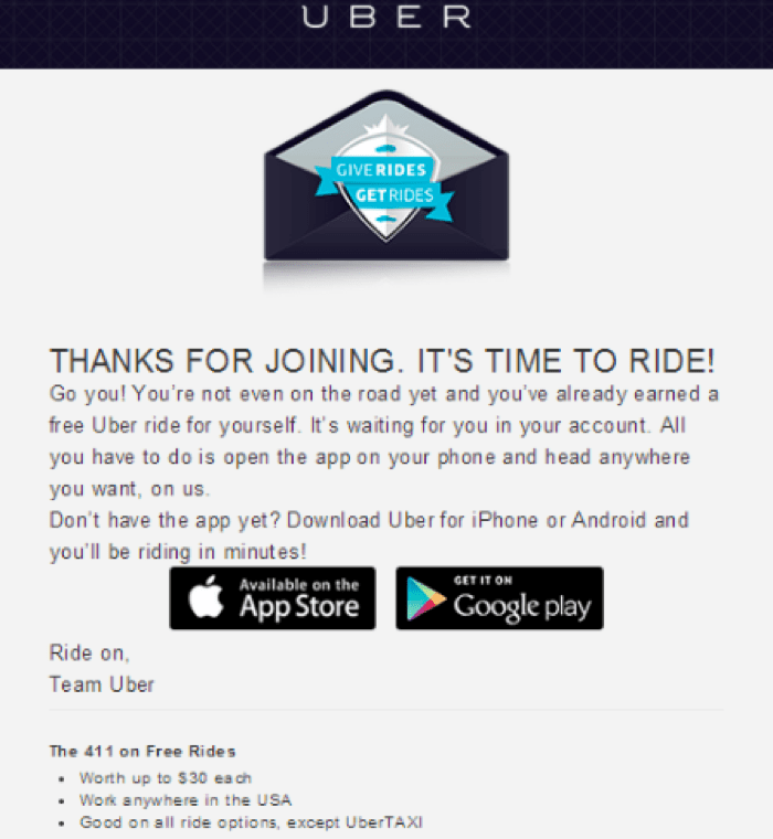 UBER's free ride campaign