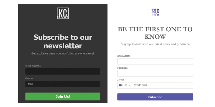 Create sign-up form on your landing page