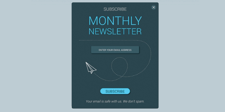 Example of an email newsletter