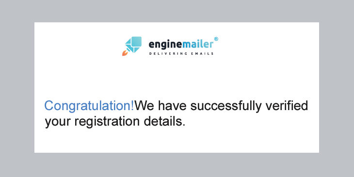 Enginemailer verification email example