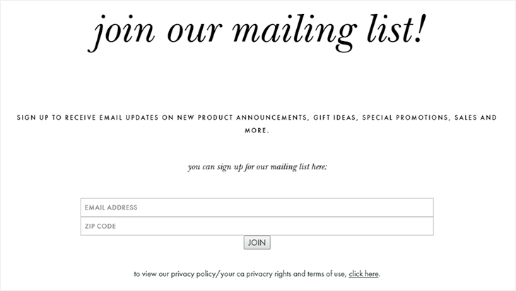 Minimalistic design for a sign-up form