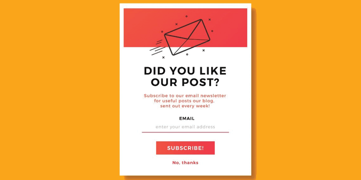A pop-up subscribe form