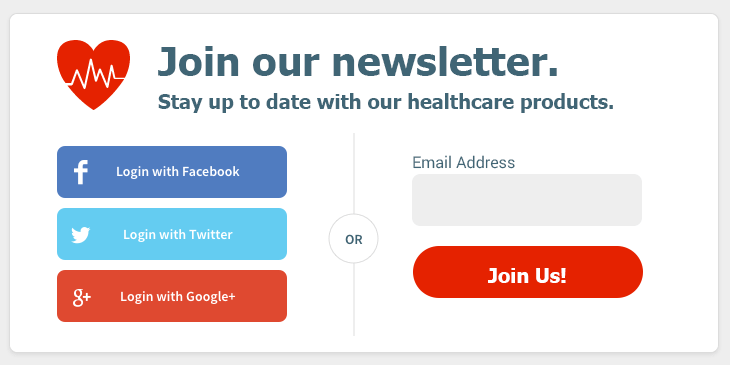 Example of sign-up form with social media signup