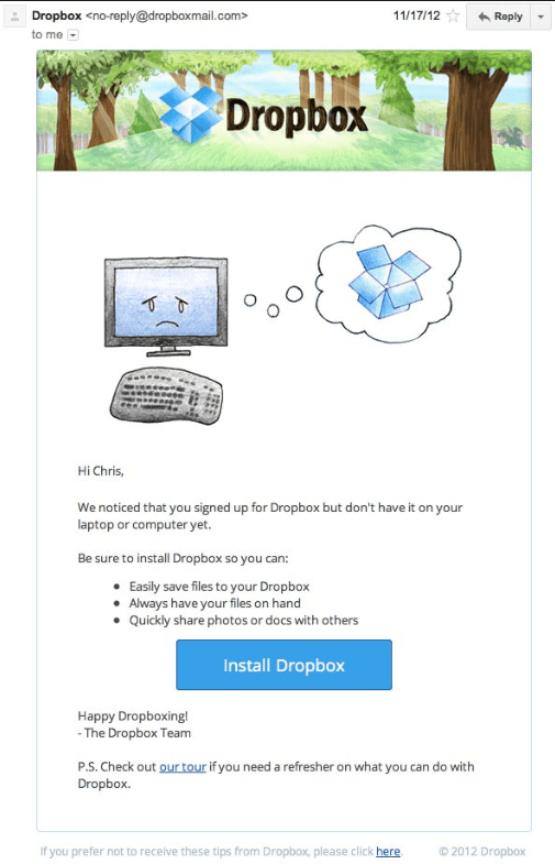Dropbox's cute and non-intrusive email