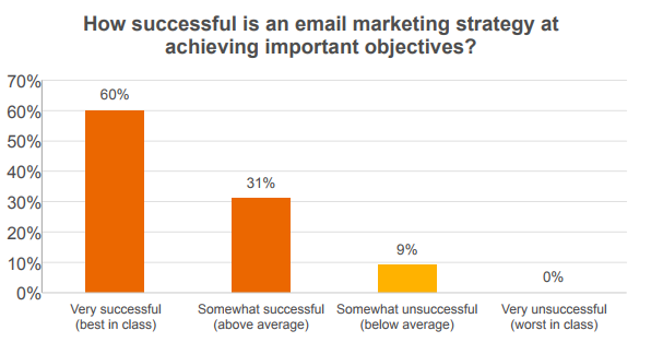 How successful is an email marketing strategy at achieving important objectives