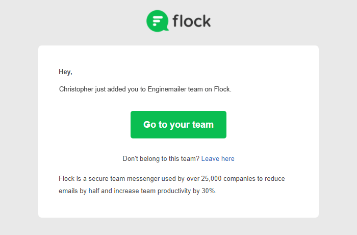 Flock's notification email example