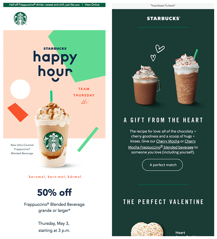 Starbucks' emails showcase tempting pictures