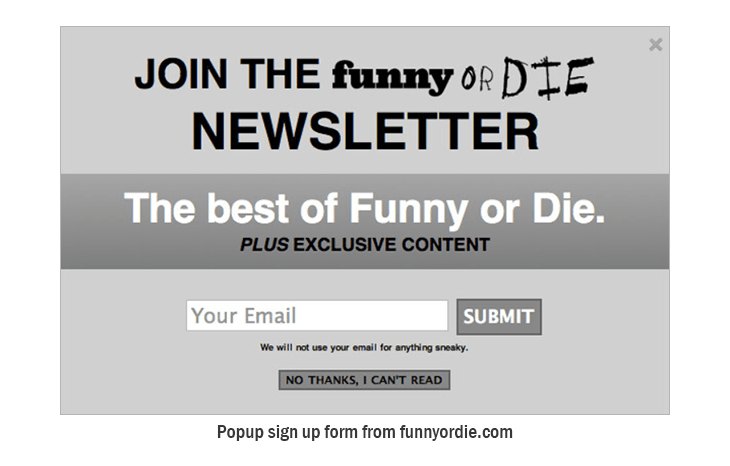 Funny popup signup form from funnyordie.com