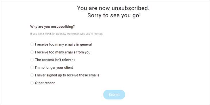 Example of unsubscribe questions