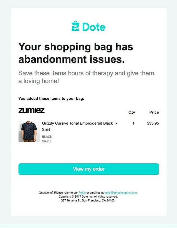Cart Abandonment Email