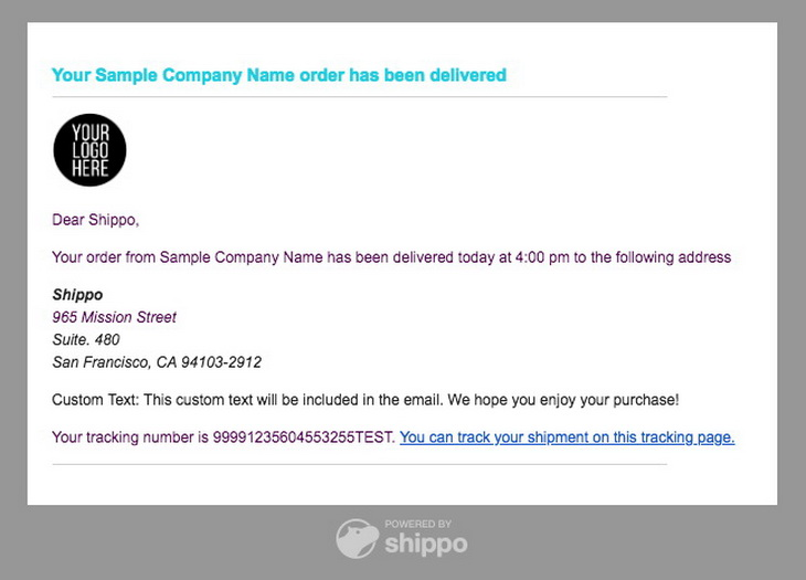 Delivery Confirmation Emails