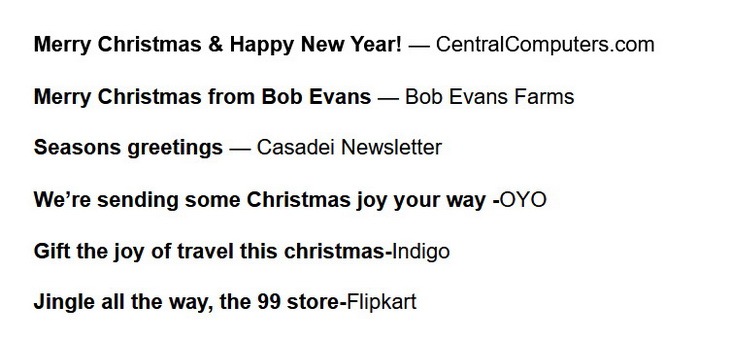 Add some holiday cheer in the subject line